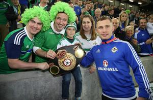 Belt up: Carl Frampton with fans at the official opening of Windsor Park. Pic: Brian Little/ Press Eye.