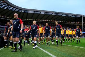 The England team return to the dressing room following the team warm up prior to kickoff during the RBS Six Nations match between Scotland and England at Murrayfield Stadium on February 6, 2016 in Edinburgh, Scotland.  (Photo by David Rogers/Getty Images)