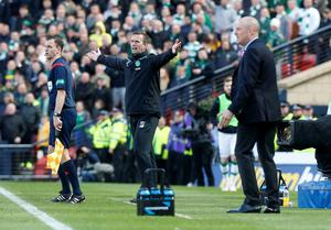 Rangers' manager Mark Warburton (right) and Celtic manager Ronny Deila during the William Hill Scottish Cup semi-final match at Hampden Park, Glasgow. PRESS ASSOCIATION Photo. Picture date: Sunday April 17, 2016. See PA story SOCCER Rangers. Photo credit should read: Danny Lawson/PA Wire. EDITORIAL USE ONLY