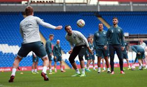 Republic of Ireland's Marc Wilson during a training session at the Cardiff City Stadium, Cardiff. David Davies/PA Wire