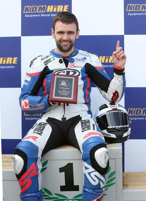PACEMAKER, BELFAST, 30/4/2016: William Dunlop celebrates his victory in the Supersport race at the Cookstown 100. PICTURE BY STEPHEN DAVISON