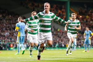 Celtic's Leigh Griffiths celebrates scoring from the penalty spot during the UEFA Champions League tie against Astana in 2016.