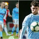 Ballymena United duo Shane McGinty (left) and Ryan Mayse (right) have left the club