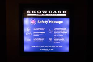 A safety message was displayed on the big screen (Stefan Rousseau/PA)