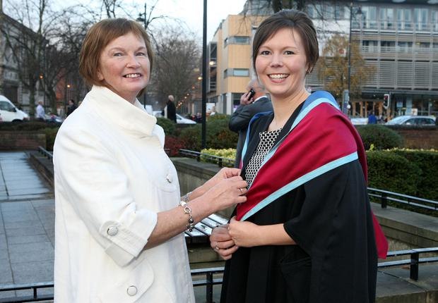 Graduations take place at Queens University in Belfast. Eileen Jameson from Trillick and her daughter Kimberly who graduated in Childhood Studies