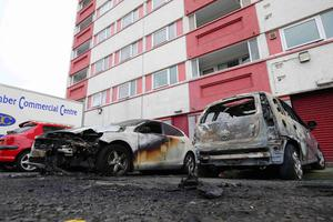 Police in Larne are investigating arson attacks on two cars at Kylemore Gardens and Riverdale in the early hours of Friday 30th June. General view of the scene at Riverdale, Larne  Press Eye - Belfast - Northern Ireland - 30th June 2017