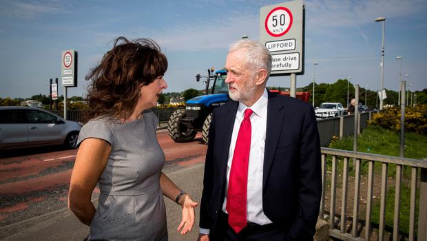 Labour leader Jeremy Corbyn with Professor Deirdre Heenan during a visit to Lifford Bridge on the Irish border, during the second day of a two-day trip to learn more about how Brexit affects the country. PRESS ASSOCIATION Photo. Picture date: Friday May 25, 2018. See PA story ULSTER Corbyn. Photo credit should read: Liam McBurney/PA Wire