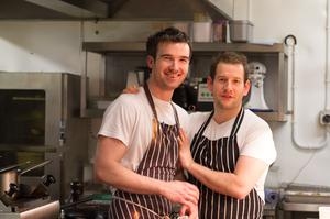 Looking forward to serving up their food are Head Chef James Devine and Sous Chef Mark Fox at the Autumn wine and food tasting event at Black Cat Traditional Restaurant, Ballygawley.