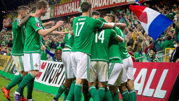 Northern Ireland Steven Davis (not pictured) celebrates with teammates after scoring his side's third goal of the game during the UEFA European Championship Qualifying match at Windsor Park, Belfast. PRESS ASSOCIATION Photo. Picture date: Thursday October 8, 2015. See PA story SOCCER N Ireland. Photo credit should read: Liam McBurney/PA Wire.