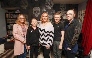 Maxine Philp with her children , Melissa (16),  Dean (10), Jack (14), Zara (18) Brady at their Lisburn home. Picture: Colm O'Reilly, Sunday Life