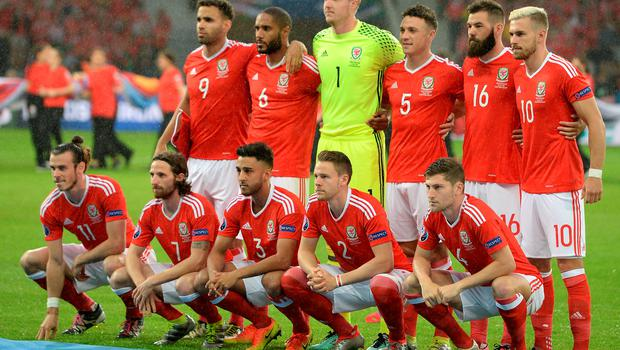 Wales team group (L - R Top) Wales' Hal Robson-Kanu, Ashley Williams, Wane Hennessey, james Chester, Joe Ledley Aaron Ramsey (L - R Bottom) Wales' Gareth Bale, Joe Allen, Neil Taylor, Chris Gunter, Ben Davies during the UEFA Euro 2016, quarter final match at the Stade Pierre Mauroy, Lille. PRESS ASSOCIATION Photo. Picture date: Friday July 1 2016. See PA story SOCCER Wales. Photo credit should read: Joe Giddens/PA Wire. RESTRICTIONS: Use subject to restrictions. Editorial use only. Book and magazine sales permitted providing not solely devoted to any one team/player/match. No commercial use. Call +44 (0)1158 447447 for further information.