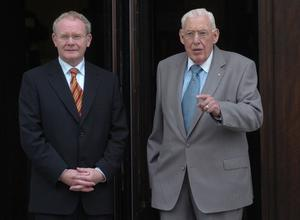 Pacemaker Press International Belfast 16/7/2007. First and Deputy First Minister Ian Paisley and Martin McGuinness pictured today at Stormont at the British Irish Council meeting 2007 . Picture Charles McQuillan/Pacemaker.