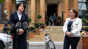 First Minister Arlene Foster and Economy Minister Diane Dodds arriving outside the five Star Merchant Hotel in Belfast city centre