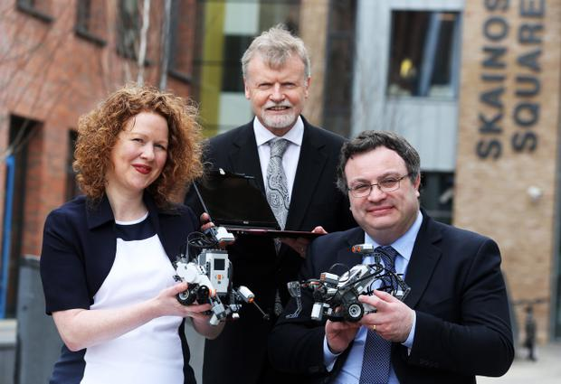 Employment Minister, Dr Stephen Farry (right) with Peter Brabazon and Sharon Didrichsen from Specialisterne