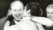 Good times: Barney Eastwood celebrates with Barry McGuigan, a boxer he managed in the 1980's