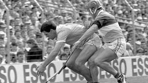 Ciaran Barr trying to hold off Offaly's Martin Hanamy in the 1989 All-Ireland SHC semi-final in Croke Park. Photo: Ray McManus/Sportsfile