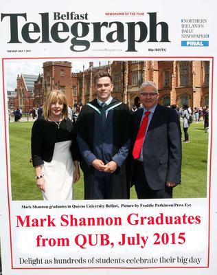 Mandatory Credit - Picture by Freddie Parkinson/Press Eye ? Tuesday 7th July 2015 Graduations Queen University Belfast. Mark Shannon from Armagh graduates in Queen University Belfast with Business Management.