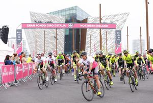 Stephen Roche The Gran Fondo Giro d'Italia as it takes off from the Titanic Building and passes through the streets and roads of Northern Ireland on June 05 2016 in Belfast , Northern Ireland ( Photo by Kevin Scott / Presseye)