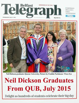 Mandatory Credit - Picture by Freddie Parkinson/Press Eye ? Wednesday 8th July 2015 Graduations Queen University Belfast. Neil Dickson from Ballymena graduated at Queens University Belfast with a Doctorate in Environmental Engineering.