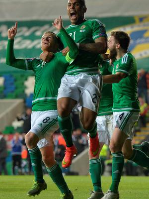 BELFAST, NORTHERN IRELAND - OCTOBER 8:  Steve Davis (L) of Northern Ireland celebrates after scoring during the UEFA EURO 2016 qualifier between Northern Ireland and Greece at Windsor Park on October 8, 2015 in Belfast, Northern Ireland.  (Photo by Charles McQuillan/Getty Images)