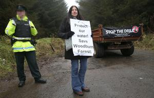 Local resident Louise Boylan from Whitehead. The entrance to Woodburn Forest near Carrickfergus is being blocked by protesters and a trailer has been used to block access to it. Press Eye - Woodburn Forest - 18th Feb 2016 Photograph By Declan Roughan