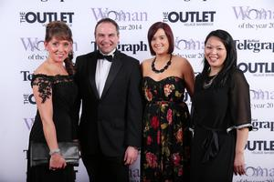 Elaine Waterworth, Chris Nelmes, Oonagh Haughian and Meilynn Cheung at Belfast Telegraph Woman of the Year Awards in Association with THE OUTLET, Banbridge at the Ramada Hotel in Belfast