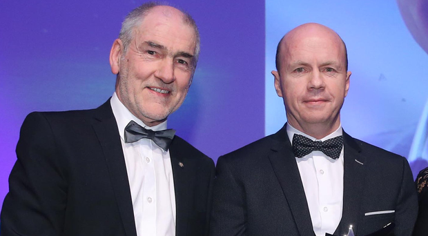 Tyrone legends: Belfast Telegraph Hall of Fame winner Peter Canavan (right) who was presented with his award last year by Tyrone manager Mickey Harte