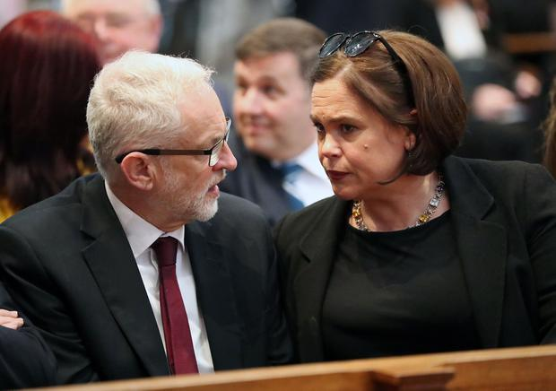 Press Eye Northern Ireland  Wednesday 24th April 2019   Labour party leader Jeremy Corbyn and Sinn Fein leader Mary-Lou McDonald  pictured at he funeral and service of thanksgiving for the life of  journalist Lyra McKee at St AnneÄôs Cathedral, Donegall Street, Belfast.  Lyra McKee was murdered in Creggan in Derry on Thursday 18th April.  Photo by Kelvin Boyes / Press Eye.