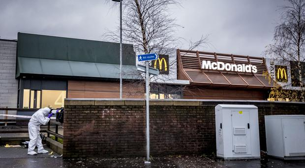 Police at the scene of a stabbing incident at McDonalds on Boucher Road on December 26th 2019 (Photo by Kevin Scott for Belfast Telegraph)