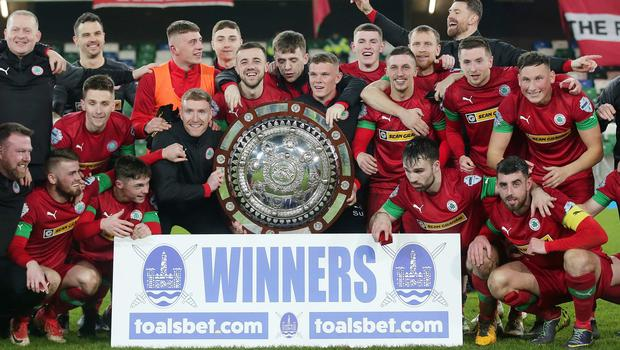 County Antrim Shield Final -  Windsor Park.  21.01.20  Cliftonville FC vs Ballymena United  Cliftonville celebrate after wining the final 2-1 and lift the shield.   Mandatory Credit ©INPHO/Jonathan Porter