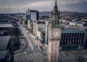 Aerial images showing Belfast City Centre on day three of lockdown amid the spread of Coronavirus on Thursday, March 26th 2020 (Photo by Kevin Scott for Belfast Telegraph)