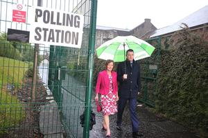 Voting begins in the Westminster General Election at polling stations across the UK open.  Sinn Fein candidate for north Belfast John Finucane, son of murder solicitor Pat Finucane, and his mother Geraldine cast their vote at Rosemary presbyterian Church. Picture by Jonathan Porter/PressEye.com