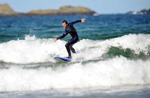 Aussie racer Cameron Donald hits the surf at Portrush