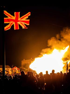 The Shankill bonfire being lit on the Eleventh Night in Belfast. Kevin Scott/Presseye.