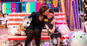 Saoirse Ruane pictured with her mum at The Late Late Toy Show 2020.