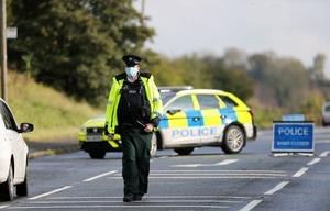 General view of PSNI officers at the scene on the Moira Road, Lisburn where 18 year old Josh Fletcher died in the early hours of Sunday 18th October. Photo by Press Eye.