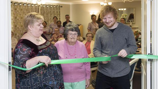 Ed Sheeran at a care home in his home town of Framlingham (Care UK/PA)