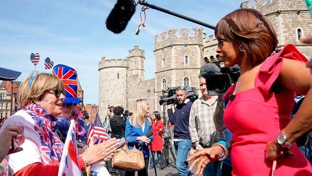 American TV presenter Gayle King CBS (right) outside Windsor Castle ahead of the wedding of Prince Harry and Meghan Markle on Saturday (Owen Humphreys/PA Wire)