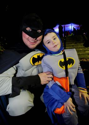Thousands of Halloween night revellers enjoy a Twilight Night by Fairy Light at Wallace Park, Lisburn. Leo (5) and dad Michael Craig