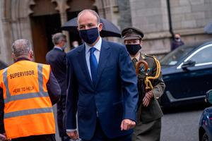 Taoiseach Micheal Martin arrives for the funeral of John Hume at St Eugene's Cathedral in Londonderry. PA Photo. Picture date: Wednesday August 5, 2020. Hume was a key architect of Northern Ireland's Good Friday Agreement and was awarded the Nobel Peace Prize for the pivotal role he played in ending the region's sectarian conflict. He died on Monday aged 83, having endured a long battle with dementia. See PA story FUNERAL Hume. Photo credit should read: Stephen Latimer/PA Wire