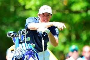 Having a look: Rory McIlroy during his practice at Augusta