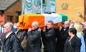 The funeral of Gerard 'Jock' Davison as it leaves his family home in the Markets area of South Belfast. Pic Kevin Scott / Presseye