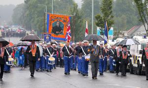 Picture - Kevin Scott / Presseye  Belfast - Northern Ireland - Monday 13th July 2015 -  Ardoyne Parade Outward   Pictured is the Orange order parade and its associated protests as it makes its way past the flashpoint of the Ardoyne Shopfront in Belfast, Northern Ireland.    Picture by Kevin Scott  / Presseye.