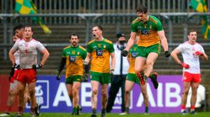 Hugh McFadden of Donegal celebrates at the final whistle