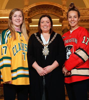 Welcome: Belfast Lord Mayor Deirdre Hargey with Cassidy Vinkle and Brittany Bugalski at City Hall yesterday