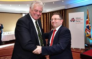 Pacemaker Press 09/03/2019 Party Leader, Robin Swann and Jim Nicholson  during the Ulster Unionist Party Annual General Meeting and Spring Conference at the Park Avenue Hotel in Belfast on Saturday. Pic Colm Lenaghan/Pacemaker
