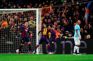 BARCELONA, SPAIN - MARCH 18:  Ivan Rakitic of Barcelona (L) celebrates scoring the opening goal with Neymar and Luis Suarez of Barcelona during the UEFA Champions League Round of 16 second leg match between Barcelona and Manchester City at Camp Nou on March 18, 2015 in Barcelona, Spain.  (Photo by David Ramos/Getty Images)