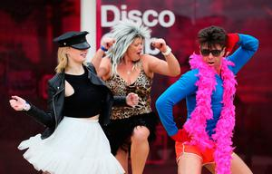 Performers put on a show at the 3Disco, where the Lip Sync Battle takes place, during a press preview of the Electric Picnic festival in Stradbally, County Laois. Brian Lawless/PA Wire