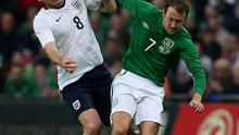 Republic of Ireland's Aiden McGeady (right) and England's Frank Lampard battle for the ball during the International Friendly match at Wembley Stadium, London. PRESS ASSOCIATION Photo. Picture date: Wednesday May 29, 2013. See PA story SOCCER England. Photo credit should read: John Walton/PA Wire. RESTRICTIONS: Use subject to FA restrictions. Editorial use only. Commercial use only with prior written consent of the FA. No editing except cropping. Call +44 (0)1158 447447 or see www.paphotos.com/info/ for full restrictions and further information.
