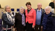 DUP leader Arlene Foster with Sandra Johnston, May Quinn, William McKane and Jean Cochrane at the victims rally in Carleton Street Orange Hall in Portadown yesterday